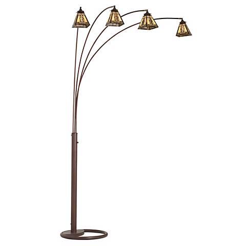 Four Arm Bronze Mission Tiffany Glass Arc Floor Lamp
