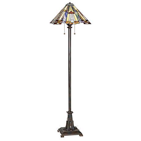 Quoizel Inglenook Tiffany-Style Art Glass Floor Lamp