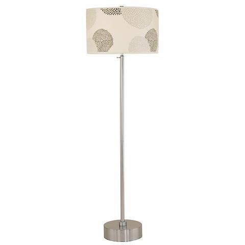 Lights Up! CanCan Brushed Nickel Black Mumm Floor Lamp