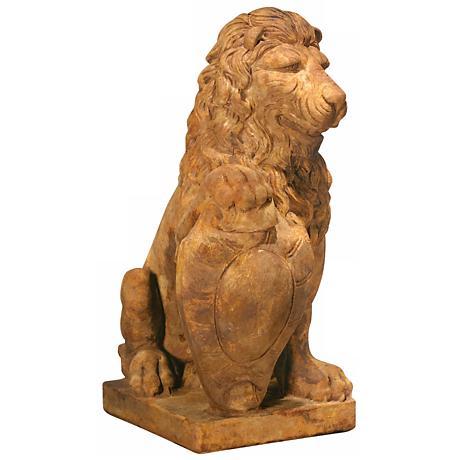 "Henri Studio Lion Right Paw on Shield 35""H Garden Sculpture"