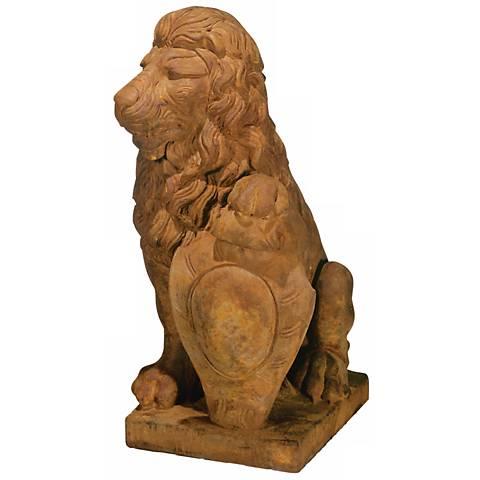 "Henri Studio Lion Left Paw on Shield 35""H Garden Sculpture"