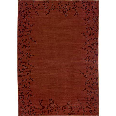 Cherry Blossom Border Red Area Rug
