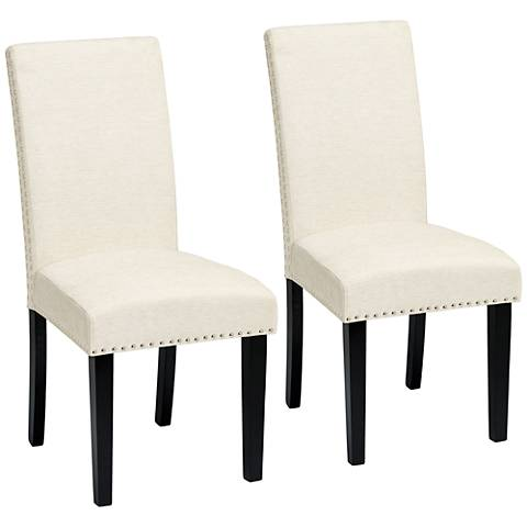 Scarpa Elizabeth Pearl White Armless Dining Chairs Set of 2