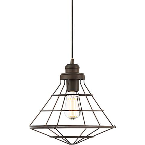 """Sherman 12"""" Wide Bronze Cage LED Mini Pendant"""