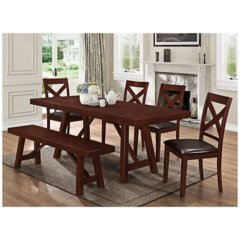 Trestle Espresso Wood 6-Piece Dining Table and Chair Set