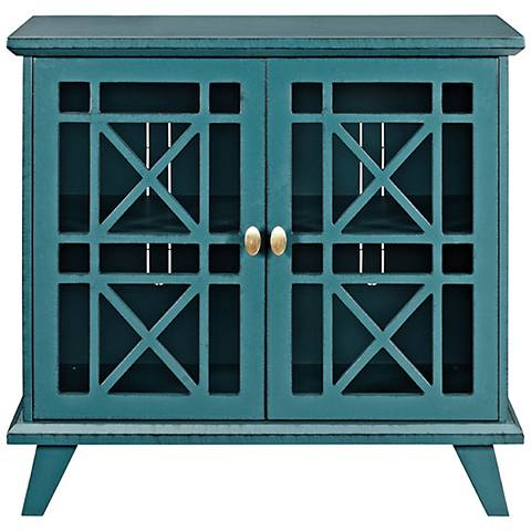 Gwen Fretwork Blue Wood 2-Door Accent Console