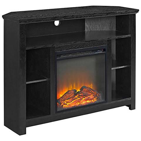 Essential Black Wood Corner Fireplace TV Stand