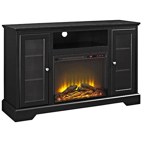 Highboy Black Wood 2-Door Fireplace TV Stand Console