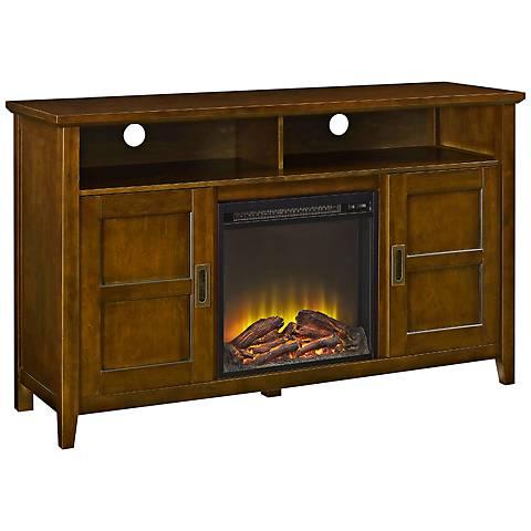 Rustic Chic Brown Wood 2-Door Fireplace TV Stand