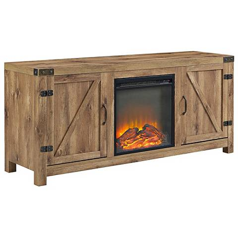 Barn Door Brown Barnwood 2-Door Fireplace TV Stand