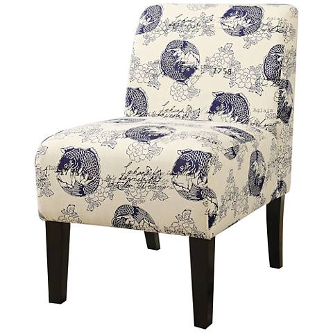 Ollano Blue and White Koi Fabric Armless Accent Chair