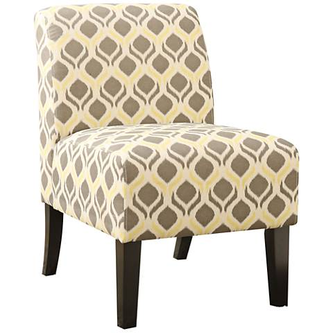Ollano Yellow and Gray Fabric Armless Accent Chair