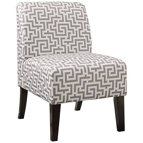 Ollano Gray and White Maze Fabric Armless Accent Chair