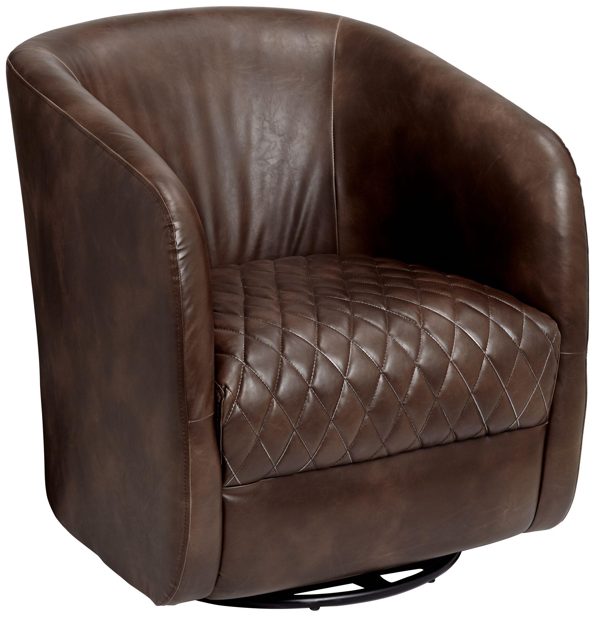 dax havana dark brown faux leather swivel club chair