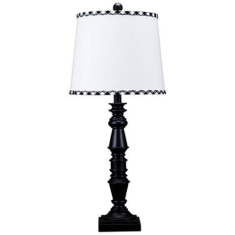 Yorktown Black Table Lamp with Black and White Trim Shade