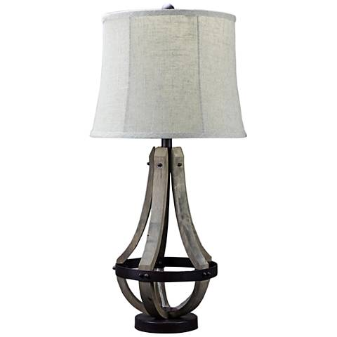 Sonoma Brown Wood and Metal Table Lamp