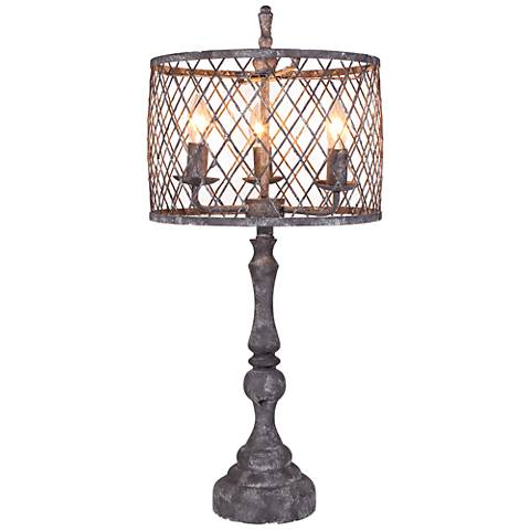 Nyack Light Gray 4-Light Metal Table Lamp