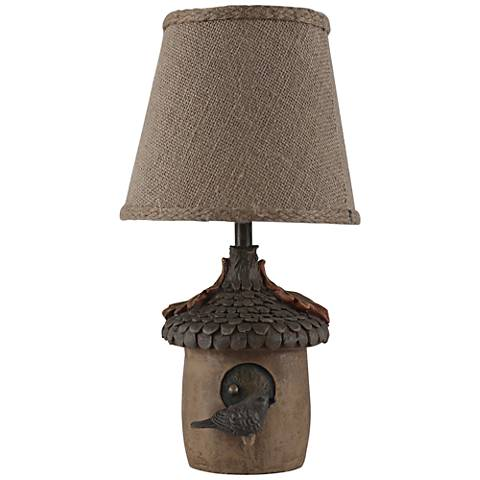 Oakly Acorn Birdhouse Brown Accent Table Lamp