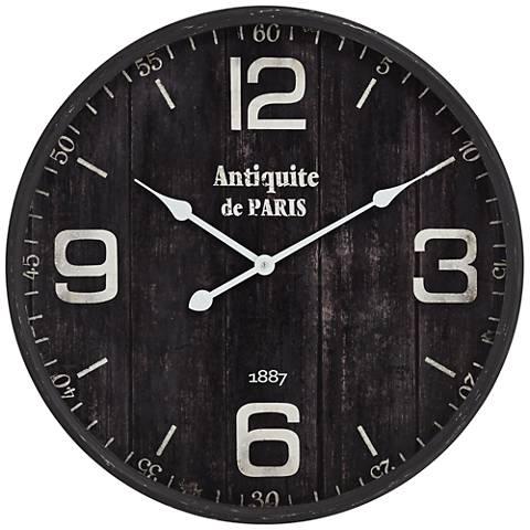 "Antiquite de Paris 23 1/2"" Brown Round Metal Wall Clock"