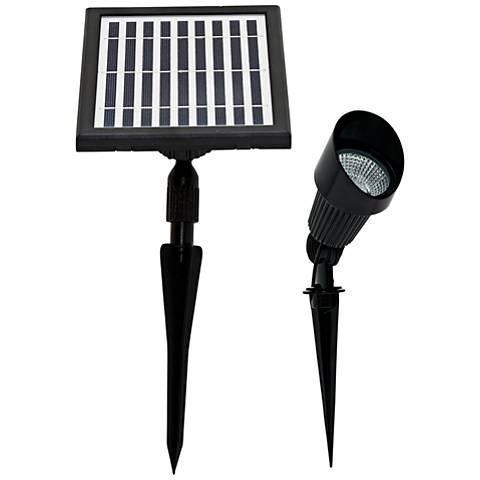 """Bram 5""""H Black Solar-Powered Warm White LED Spot Light"""