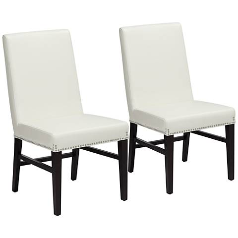 Brooke Ivory Bonded Leather Dining Chair Set of 2