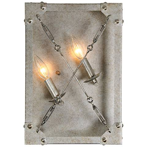 "Askew 15 1/2"" High Silver Age 2-Light Left Sided Wall Sconce"