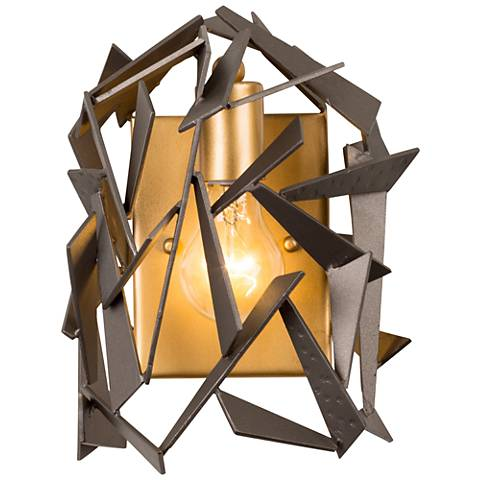 """Varaluz Bermuda 10"""" High Antique Gold and Bronze Wall Sconce"""