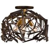 "Bermuda 18""W Antique Gold and Bronze 3-Light Ceiling Light"
