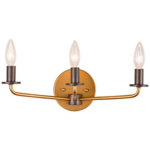 "Jake 16""W Antique Gold and Rustic Bronze 3-Light Bath Light"