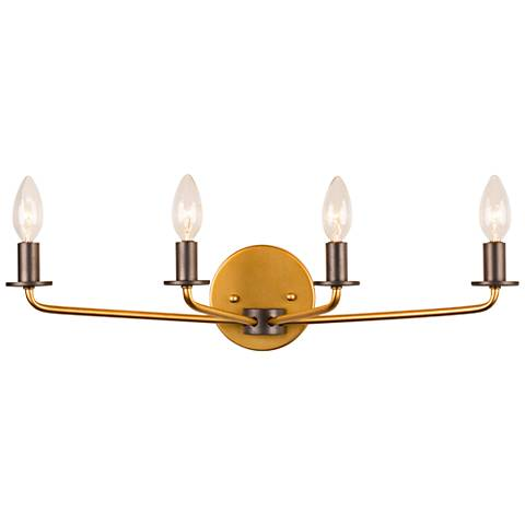 "Jake 23""W Antique Gold and Rustic Bronze 4-Light Bath Light"