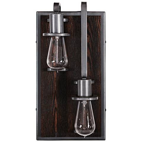 """Lofty 16"""" High Faux Zebrawood 2-Light Left Sided Wall Sconce"""