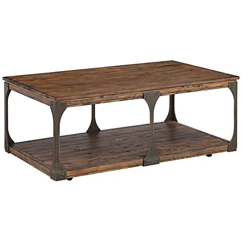 Montgomery Bourbon Wood Cocktail Table with Casters