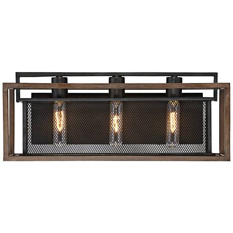 "Varaluz Rio Lobo 21""W Dark Oak and Black 3-Light Bath Light"