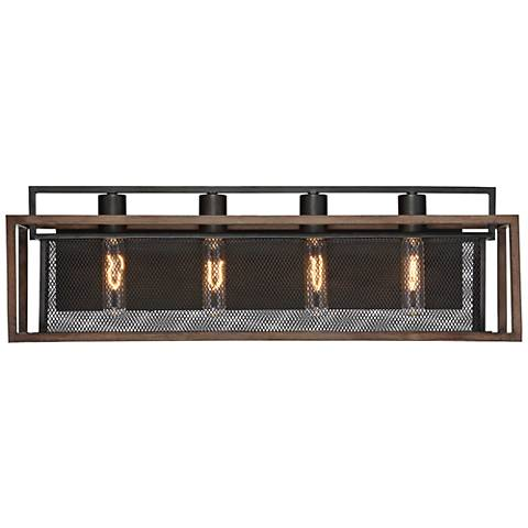 "Varaluz Rio Lobo 27""W Dark Oak and Black 4-Light Bath Light"
