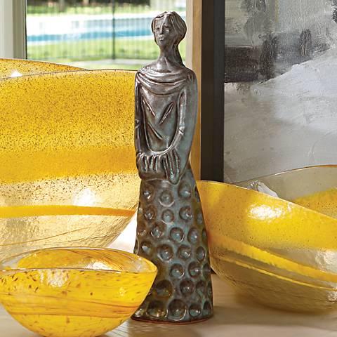 "Cinderella 12"" High Brown and Green Glaze Statue"