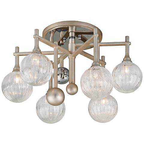 "Corbett Majorette 24""W Silver Leaf 6-Light LED Ceiling Light"