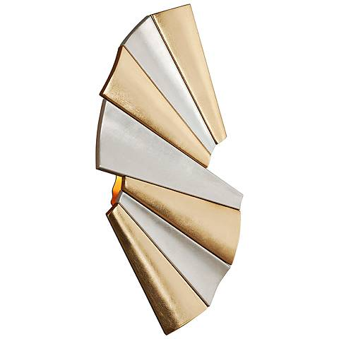 "Taffeta 16 1/2""H Gold Leaf and Silver Leaf LED Wall Sconce"