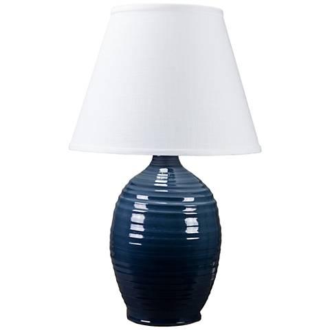 Ridges Blue Ceramic Table Lamp with Mid Blue Glaze