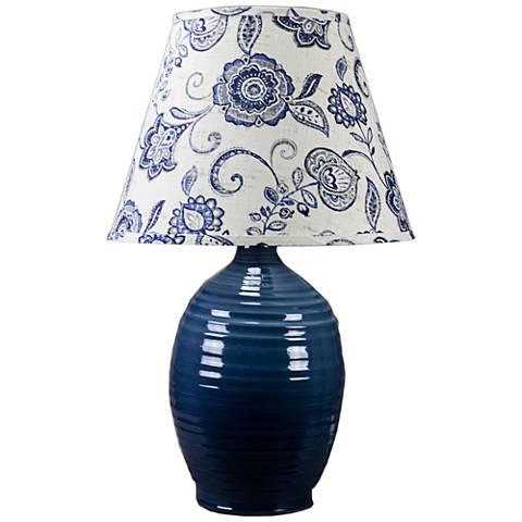 Ridges Blue Ceramic Table Lamp with Pine Green Glaze
