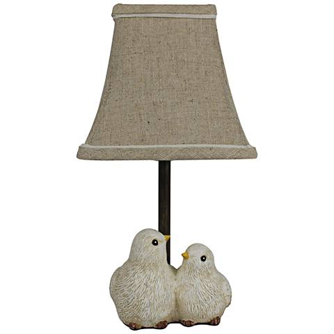 Feathered Friends Gray and Gold Accent Table Lamp