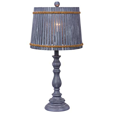 Finn Gray Table Lamp with Drum Bamboo Shade