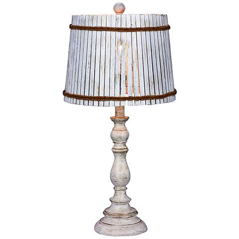 Finn White Table Lamp with Drum Bamboo Shade