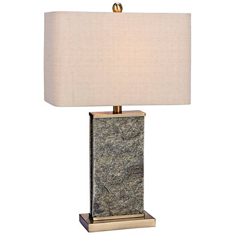 Olympus Natural Stone and Antique Brass Table Lamp