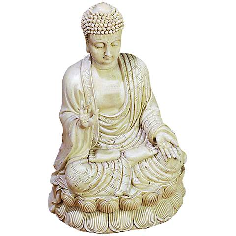 "Sage 13"" High Beige and Bone White Textured Buddha Statue"
