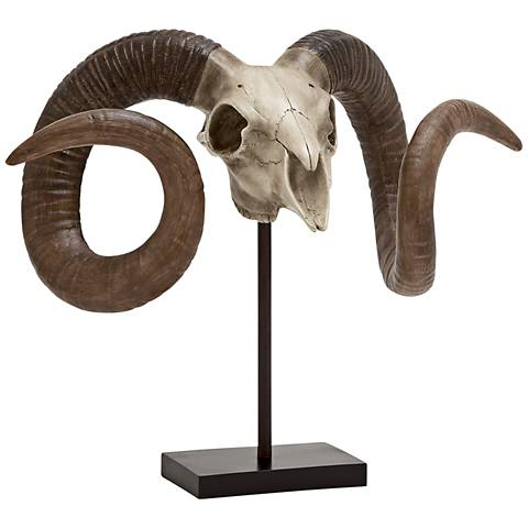 """Brut 22""""W Bone White and Chestnut Brown Sheep Skull on Stand"""