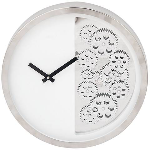 "Anspaugh Silver and White Front 15"" Round Half-Gear Wall Clock"