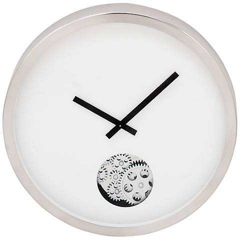 """Anspaugh Silver and White Front 15"""" Round Gear Accent Wall Clock"""