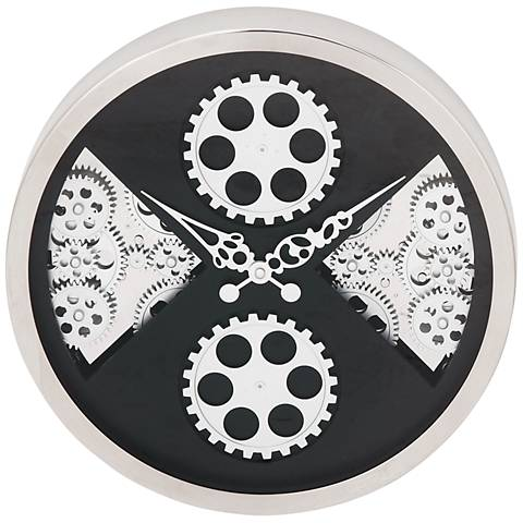 """Anspaugh Silver and Black Front 15"""" Round Gear Wall Clock"""