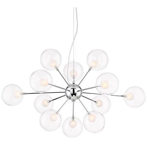 "Shasta 31"" Wide Chrome and Glass 12-Light Sputnik Pendant"