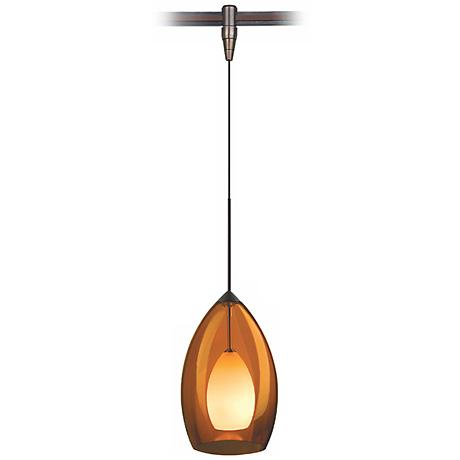 Fire Amber Murano Glass Bronze Tech Lighting MonoRail Pendant